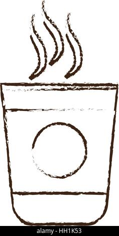sketch draw plastic cup coffee portable - Stock Photo