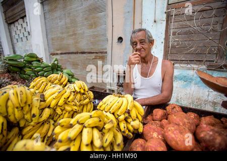 Fruit vendor in Old Havana - Stock Photo