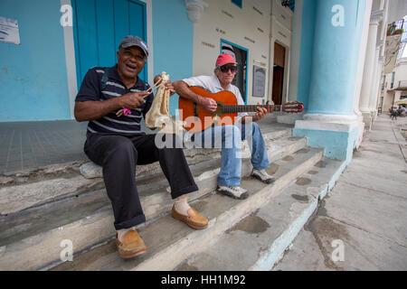 Musicians at Plaza Vieja in Old Havana - Stock Photo