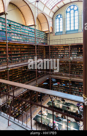 Library at the Rijksmuseum, Amsterdam, Netherlands - Stock Photo