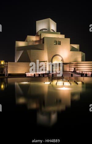 Night view of Museum of Islamic Art, Doha, Qatar - Stock Photo
