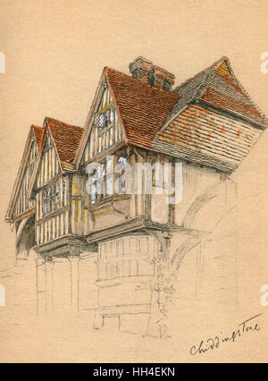 Illustration by Cecil Aldin in his autobiography, Time I Was Dead, showing old buildings in the village of Chiddingstone, - Stock Photo