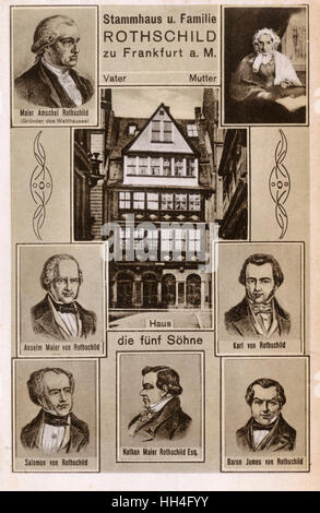 The Rothschild Family Home on Judengasse in Frankfurt am Main, Germany - The card shows the building exterior. The - Stock Photo