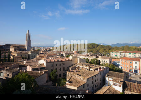 City of Girona in Catalonia, Spain, cityscape view from above - Stock Photo