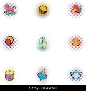 Things for baby icons set, pop-art style - Stock Photo