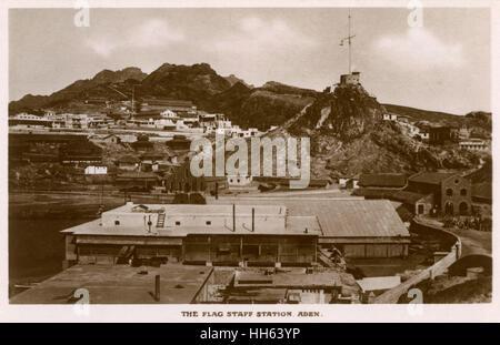 Flag Staff Station, Crater (Kraytar, Seera), British colony of Aden (now in Yemen). - Stock Photo