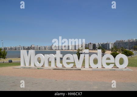 The letters of Montevideo near Pochito Beach in the city of Montevideo, Uruguay, - Stock Photo