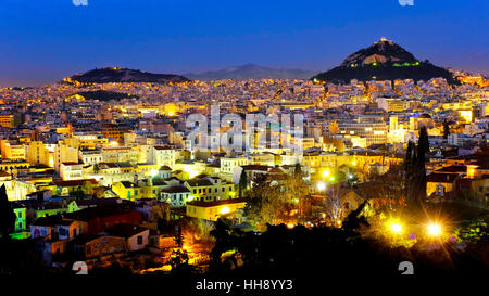 View of the city of Athens and Mount Lycabettus, Athens, Greece - Stock Photo