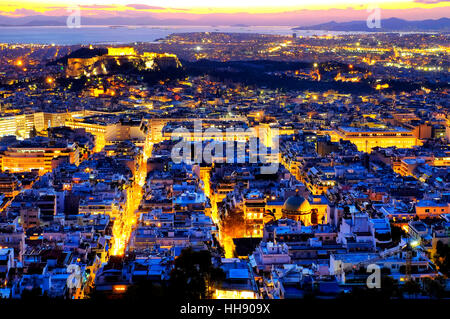 View of the city of Athens form Mount Lycabettus, Athens, Greece - Stock Photo