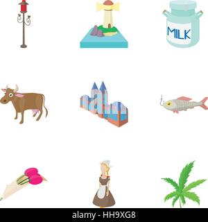 Tourism in Holland icons set, cartoon style - Stock Photo