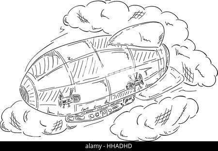 illustration, draw, cartoon, travel, single, isolated, colour, space, flight, - Stock Photo
