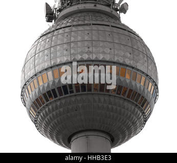 detail of the television tower in berlin - Stock Photo