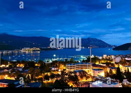 Budva city and bay at night, Montenegro, Europe. Street and moon light - Stock Photo