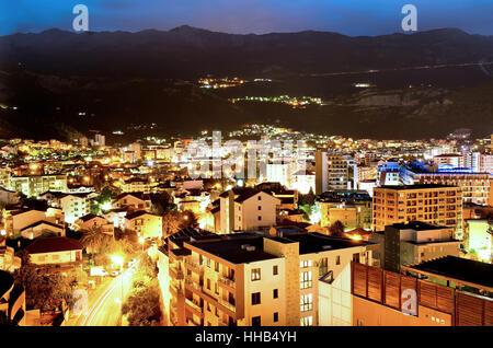Budva town at night, Montenegro, Europe. Street and moon light - Stock Photo