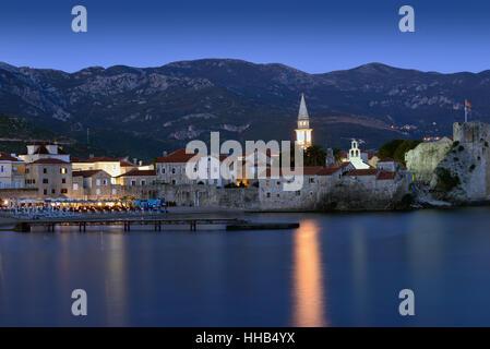 Budva old  town castle, night scene, Montenegro, Europe - Stock Photo