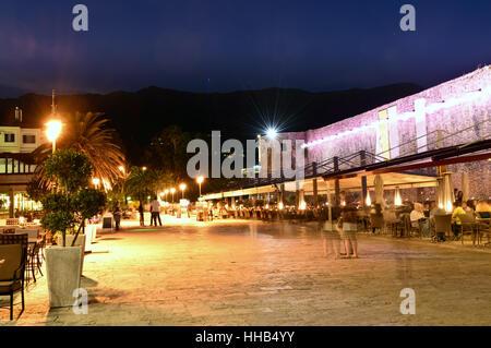 Budva old  town cafe, night scene, Montenegro, Europe - Stock Photo