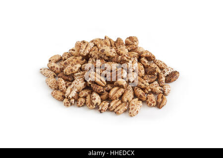 Pile of puffed barley cereal isolated on white background - Stock Photo