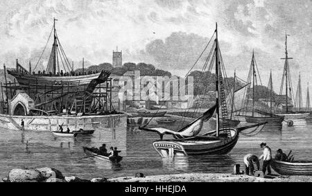 Illustration of a Royal Navy dockyard, showing a warship. Dated 19th Century - Stock Photo