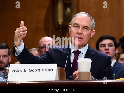 Washington, USA. 18th Jan, 2017. Attorney General Scott Pruitt (Republican of Oklahoma) testifies before the USA - Stock Photo