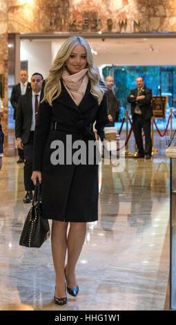 New York, USA. 19th Jan, 2017. Tiffany Trump leaves Trump Tower in New York, NY, USA on January 19, 2017. Photo: - Stock Photo
