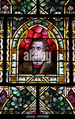 Stained glass window of Martin Luther in the Felsenkirche at Luderitz - Stock Photo