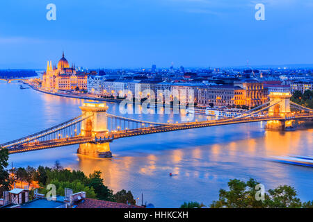 Budapest, Hungary. The chain bridge over river Danube and famous building of Parliament. - Stock Photo