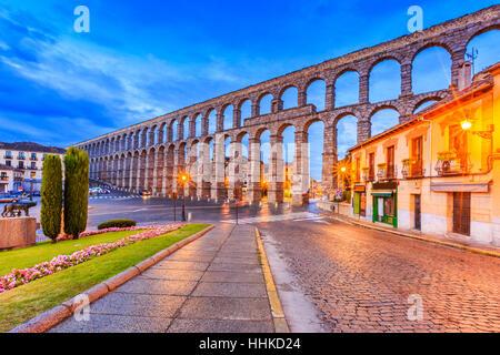 Segovia, Spain. Plaza del Azoguejo and the ancient Roman aqueduct. - Stock Photo