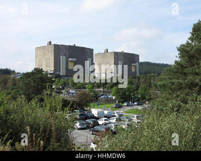 Trawsfynydd nuclear power station is a disused Magnox power station situated on the north shore of Llyn Trawsfynydd - Stock Photo