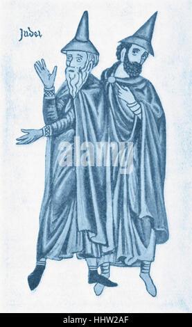 Costume of German Jews of the thirteenth century. From Herrad von Landsperg, 'Luftgarten'. - Stock Photo