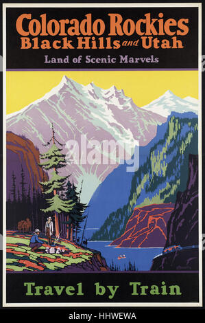 Colorado Rockies, Black Hills, and Utah. Land of scenic marvels. Travel by train  - Vintage travel poster 1920s - Stock Photo