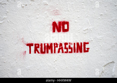 Stenciled message on a wall saying No Trumpassing - Stock Photo