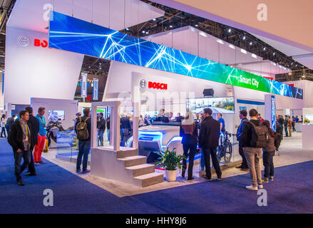 LAS VEGAS - JAN 08 : The Bosch booth at the CES show in Las Vegas on January 08 2017 , CES is the world's leading - Stock Photo