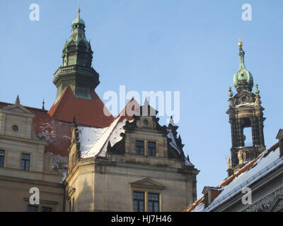 historical, church, tourism, old town, saxony, Dresden, style of construction, - Stock Photo