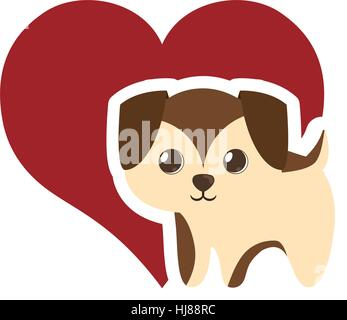 puppy adorable pedigree red heart vector illustration eps 10 - Stock Photo