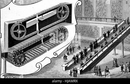 Conveyor, automatic staircase for people in the railway station of Cortland Street, New York, America, historical - Stock Photo