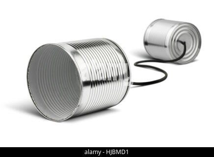 Tin cans telephone on white, global communication concept - Stock Photo