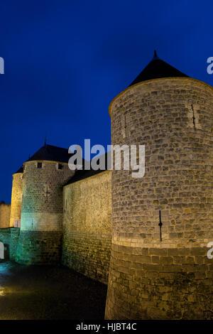 city, town, stone, night, nighttime, sunset, tourism, europe, france, fortress, - Stock Photo