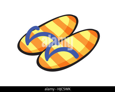 illustration of  yellow stiped slippers on a white background - Stock Photo
