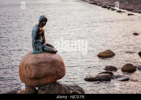 The famous little mermaid statue. Copenhagen, Denmark. - Stock Photo