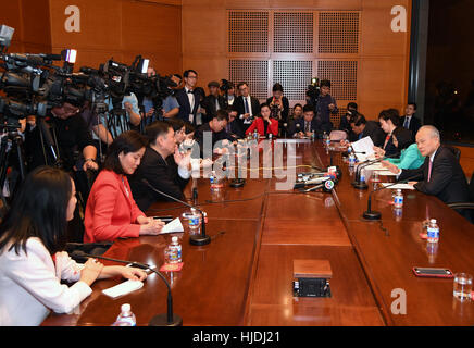 Washington, DC, USA. 24th Jan, 2017. Cui Tiankai (1st R), the Chinese ambassador to the United States, speaks to - Stock Photo