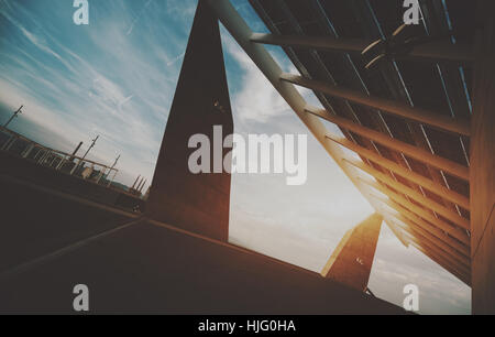 Abstract fragment of modern contemporary hi-tech solar photovoltaic panel, huge solar battery, giant energy producing - Stock Photo