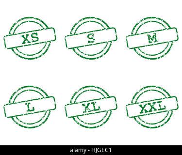 clothing sizes stamp - Stock Photo