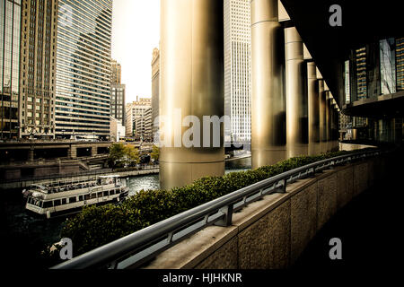 sunset inside a pathway of Trump tower - Stock Photo