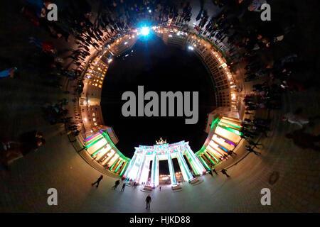 full circle (Planetenansicht, little planet) Panorama: Festival of Lights, Brandenburger Tor, Pariser Platz, Berlin - Stock Photo