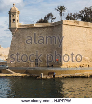 Guard post at St. Michael's fort on Senglea in the Grand Harbour at Valletta on Malta. - Stock Photo