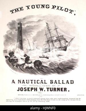 Sheet music cover image of the song 'The Young Pilot A Nautical Ballad', with original authorship notes reading - Stock Photo