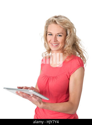 woman, laptop, notebook, computers, computer, PC, laugh, laughs, laughing, - Stock Photo