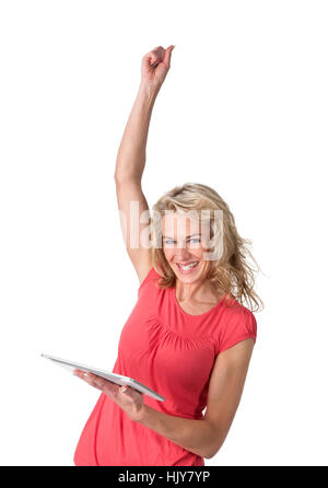 cheering woman with digital tablet - Stock Photo