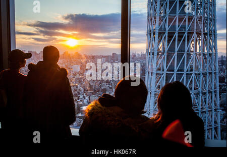 Townscape, Sunset, detail of Tokyo Skytree tower and northern skyline of the city, Tokyo, Japan - Stock Photo