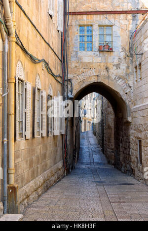 Ancient street in Jerusalem Old City, Israel. - Stock Photo